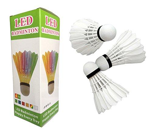 Set of 8 Colorful LED Badminton Shuttlecock Night Glow Birdies Great Fun