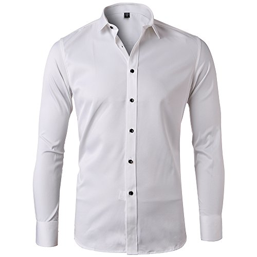 Men S Bamboo Fiber Dress Shirts Slim Fit Solid Long Sleeve