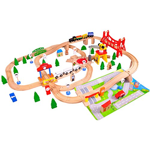 timy deluxe wooden train track set 100 pieces railway play set with accessories for kids roisap. Black Bedroom Furniture Sets. Home Design Ideas